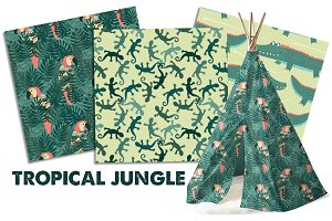 Tropical Jungle Seamless Patterns
