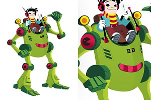 Robot kid boy cartoon isolated