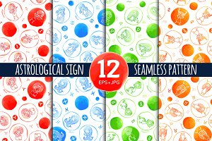 12 zodiac sign seamless pattern
