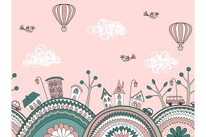 Cute doodle seamless pattern. City hills
