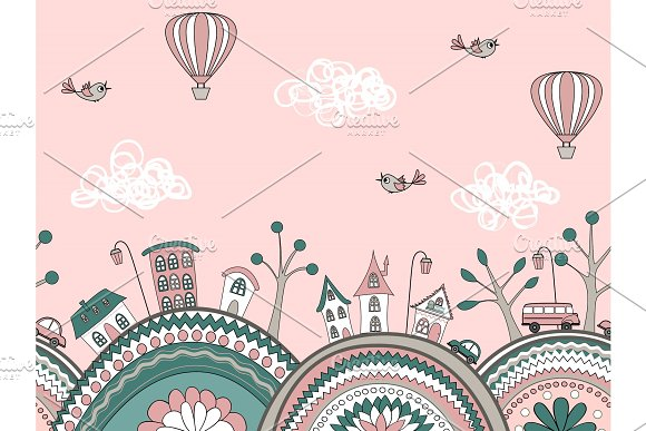 Cute Doodle Seamless Pattern City Hills