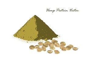 Hemp protein amd hemp seeds isolated on white.