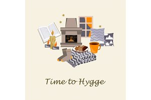 Time to Hygge Vector illustration. Cozy home