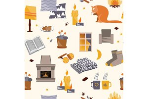Cute hygge seamless pattern. Harmony and happiness