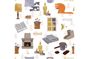 Cute hygge seamless pattern. Cosy home