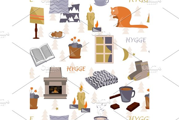 Cute Hygge Seamless Pattern Cosy Home