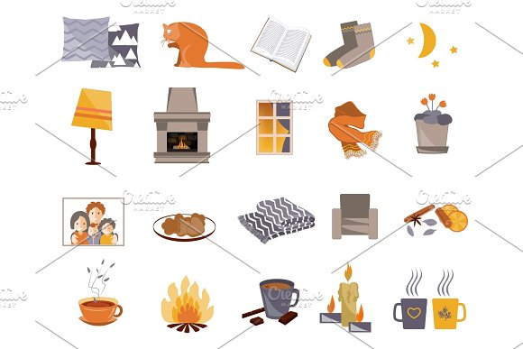 Time To Hygge Vector Flat Icons Set