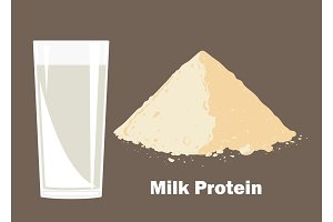 Whey protein powder and glass of milk.