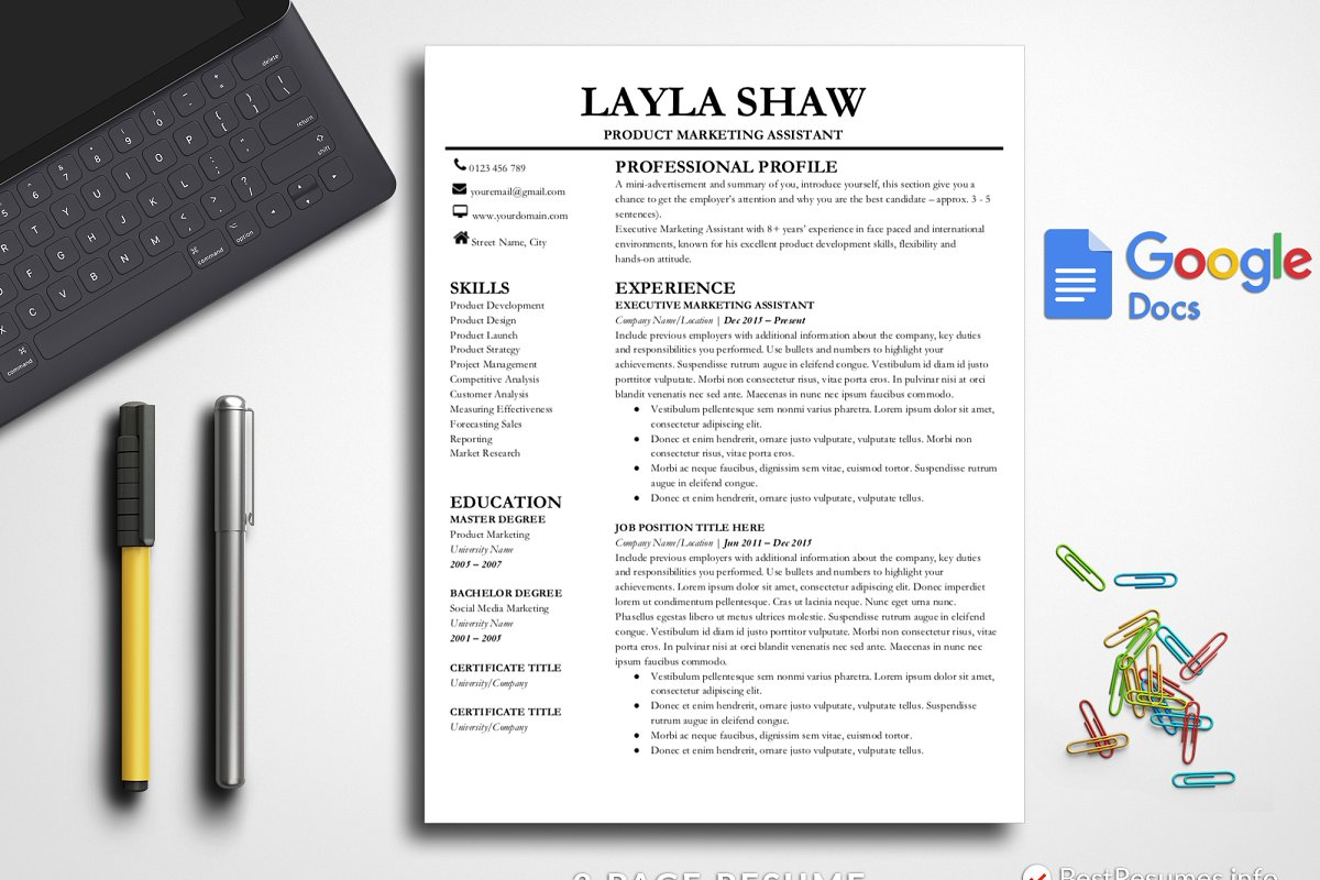 Resume Template Google Docs Templates Creative Market