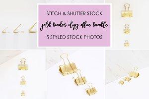 Gold Binder Clips Office Bundle