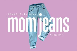 Mom Jeans Hand Painted Illustration