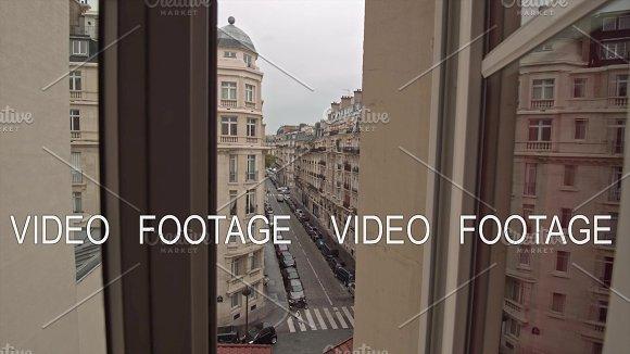 Timelapse Of Traffic In Parisian Street View Through Window