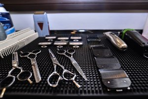 Barber tools in the workplace. Men's haircut.