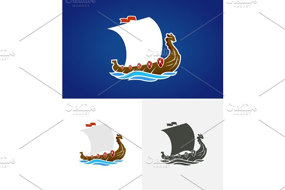 Viking Drakkar Sailing Ship Floating On The Sea Waves Hand Drawn Design Element Old Russian Ship Vintage Vector Engraving Illustration For Poster Label Postmark Isolated On Blue Background