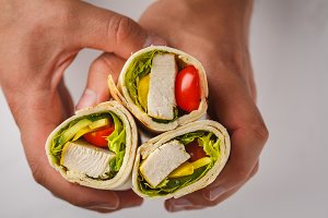 Grilled burrito wraps with chicken