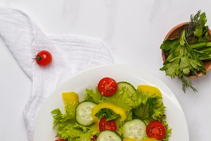 Green bright vegetable salad