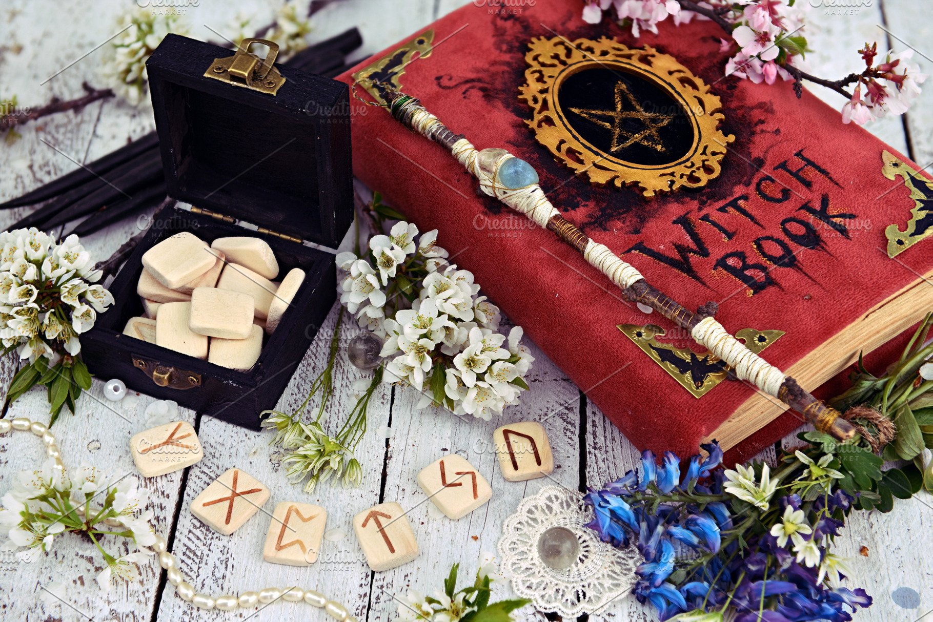 Rite with book and runes ~ Arts & Entertainment Photos ~ Creative Market