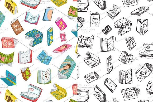 Open Books Reading Seamless Pattern