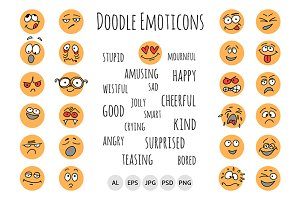 Hand Drawn Emoticons, Doodle