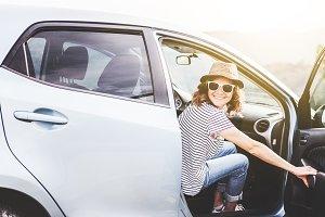 Beautiful girl in the car