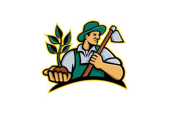 Organic Farmer Holding Plant Mascot