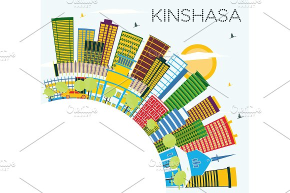 Kinshasa Skyline With Color Building