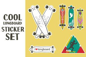 Cool longboard sticker set