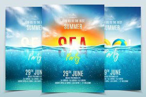 Summer pool party posters