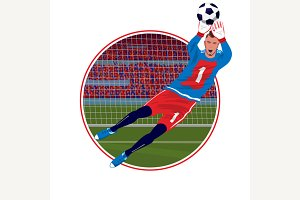 Emblem with goalkeeper catching ball