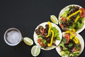 Tasty tacos with beef and vegetables