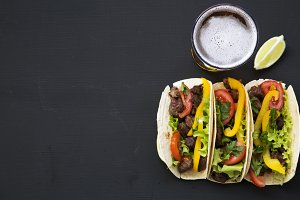 Corn tortillas with beef
