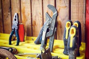 A close-up of a set of tools