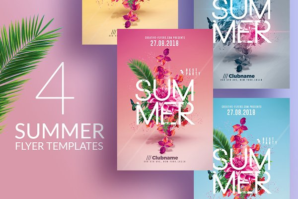 Summer Party   4 Flyers Templates