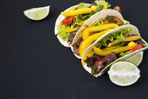 Tacos with beef and vegetables