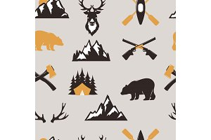 Outdoor tourist travel scout badges template emblem vector illustration collection seamless pattern background bear and deer animals camping badge