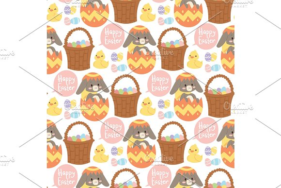 Easter Rabbit Vector Holiday Bunny Rabbit And Easter Eggs Pose Cute Happy Spring Adorble Rabbit Animal Happy Family Celebration Seamless Pattern Background Illustration