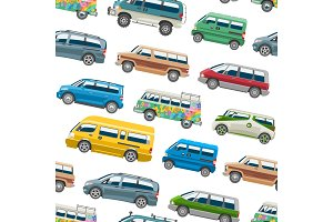 Car vector van auto vehicle family minibus vehicle and automobile banner isolated citycar on white seamless pattern background