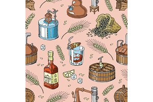 Whiskey vector alcohol beverage brandy in glass and drink scotch or bourbon in bottle illustration set of distillation seamless pattern background