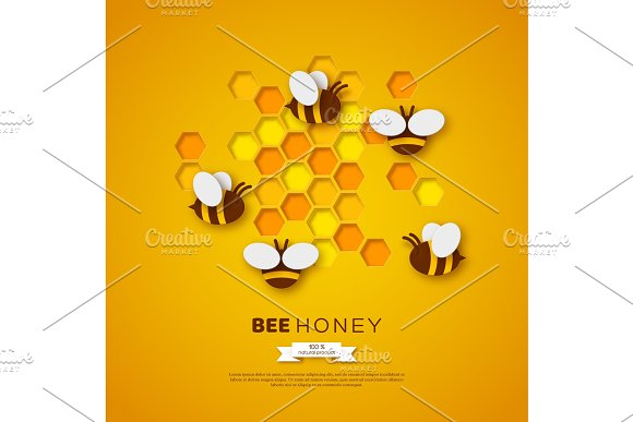 Paper Cut Style Bee With Honeycombs Template Design For Beekiping And Honey Product Yellow Background Vector Illustration