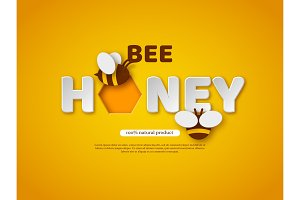Bee honey typographic design. Paper cut style letters, comb and bee. Template design for beekiping and honey product. Yellow background, vector illustration.