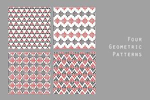 Black white red geo ethnic patterns