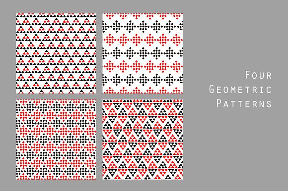 Black White Red Geo Ethnic Patterns