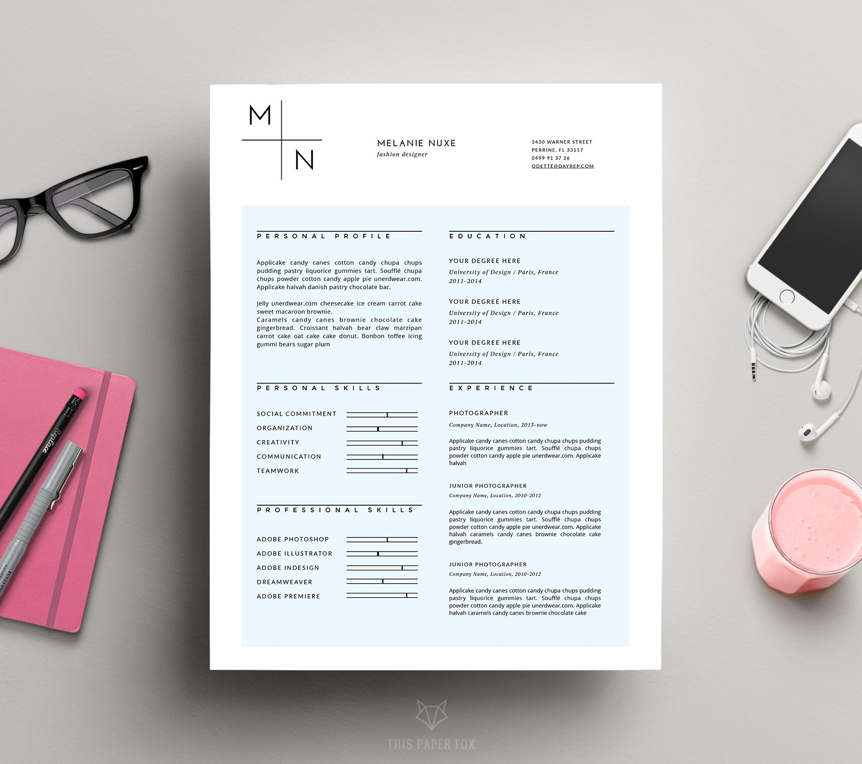 Modern CV Template for MS Word ~ Resume Templates ~ Creative Market
