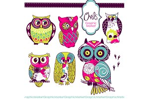 Woodland Owls retro clip art
