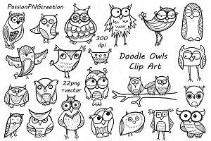 Doodle Owls Clipart