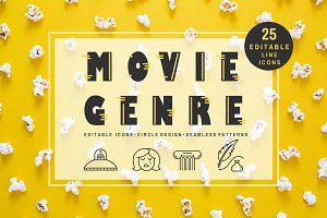 Movie Genre - editable line icons