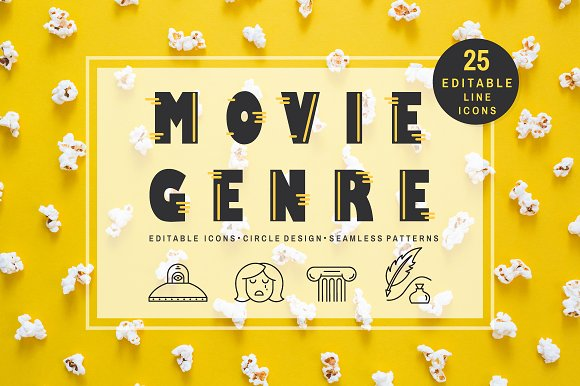 Movie Genre Editable Line Icons