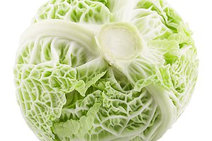 Sweet whole green savoy cabbage