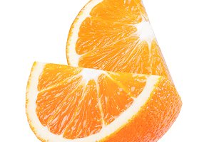 Sweet sliced orange fruit isolated