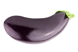 One fresh eggplant with stem